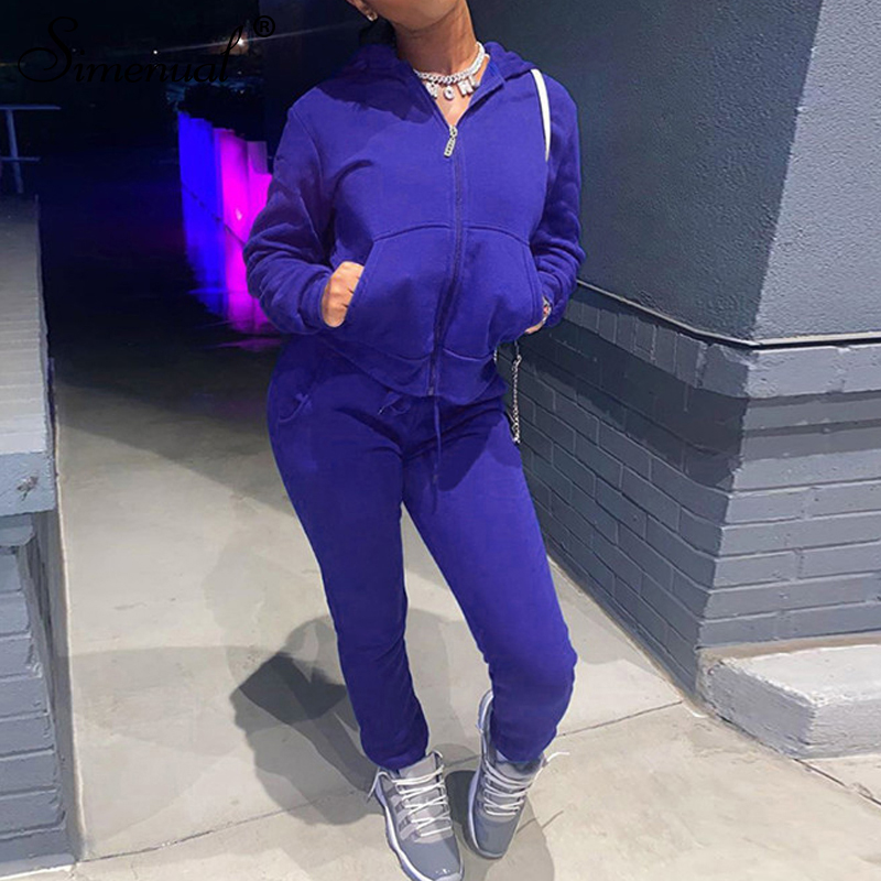 Simenual Zip Up Hooded Casual Long Sleeve Loungewear Two Piece Sets Fall 2020 Women Clothing Sporty Top And Pants Winter Outfits
