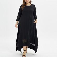 Plus size muçulmano vestido longo feminino sólido o pescoço manga comprida vestido solto bolso assimétrico hem casual robe longo # g2