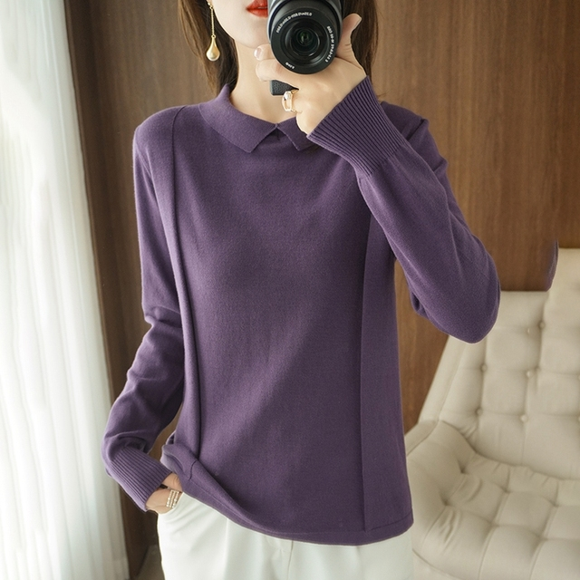 Spring and Autumn New Sweater Women's Doll Collar Women's Pullover Long Sleeve T-shirt Knitted Loose Large Size Women's Top 1