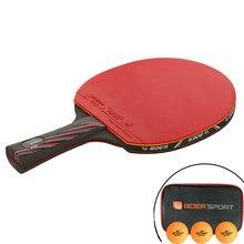 1шт 6 Звезда настольный теннис лезвие пинг-понг ракетка профессиональная нано-углерода длинные короткая ручка ракетки ракетка с носит мешок 3 мяча