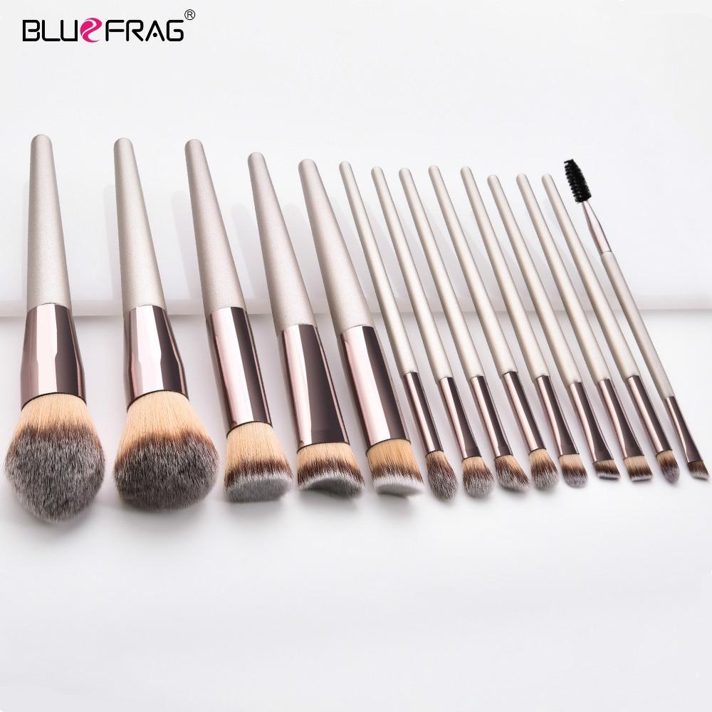 BLUEFRAG Champagne Makeup Brushes Set  Cosmetic Foundation Powder Blush Eye Shadow Lip Blend Beauty Make Up Brush Tool 5-14pcs