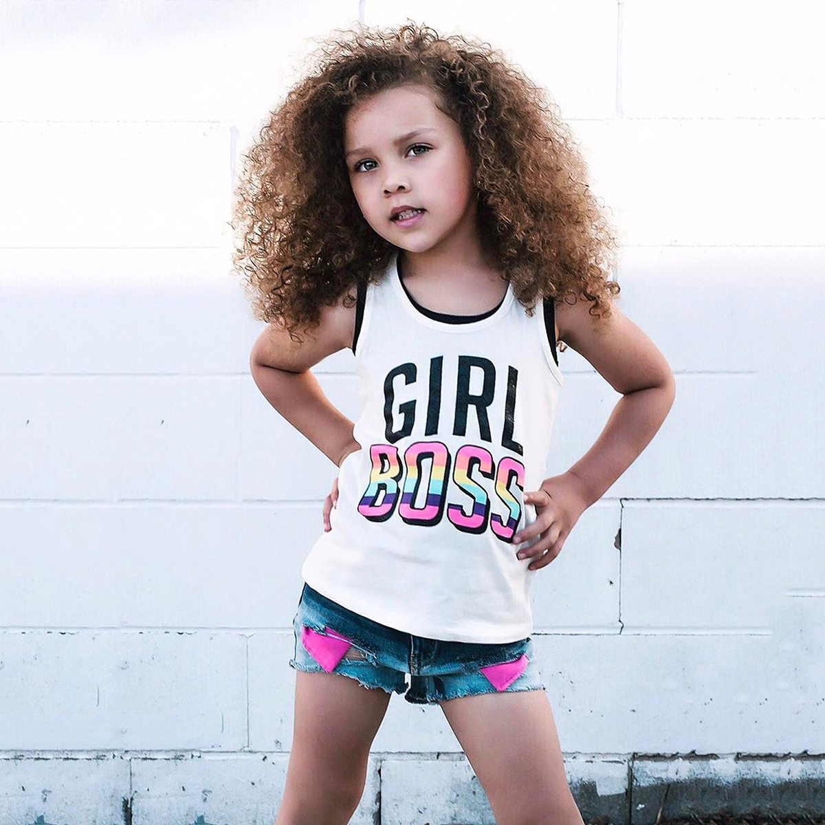 Girl Denim Shorts Set 2021 Summer Kid Cotton Letter Print Vest Suit 1-7Y Children's Clothing Casual Sleeveless Tops Pant Outfits