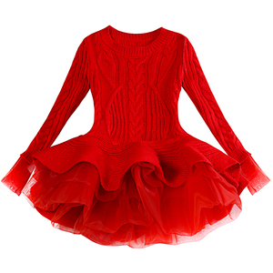 Image 1 - תינוק חם ילדה סרוג שיפון שמלת חג המולד מסיבת חתונת מיני טוטו שמלות חורף ילדי בנות סוודר ילדי בגדי שמלה