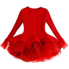 Dziecko ciepłe damskie dzianiny szyfonowa sukienka świąteczne wesele Mini Tutu sukienki zimowe dzieci dziewczyny sweter dzieci ubrania sukienka