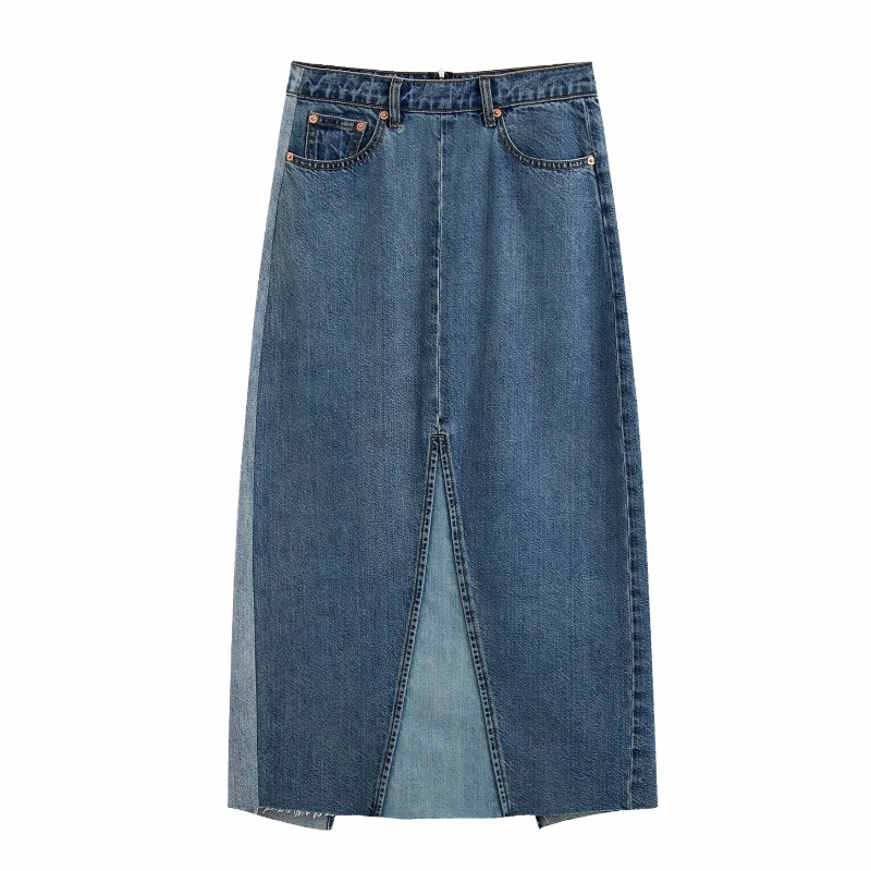 New 2020 Women Vintage Patchwork Casual Slim A Line Denim Skirt Faldas Mujer Female Back Zipper Vestido Split Midi Skirts QUN607