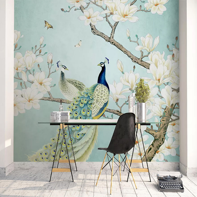 Custom Mural Wallpaper 3D Chinese Style Peacock Magnolia Flowers Bird Wall Painting Living Room Study Background Wall Decor 3 D