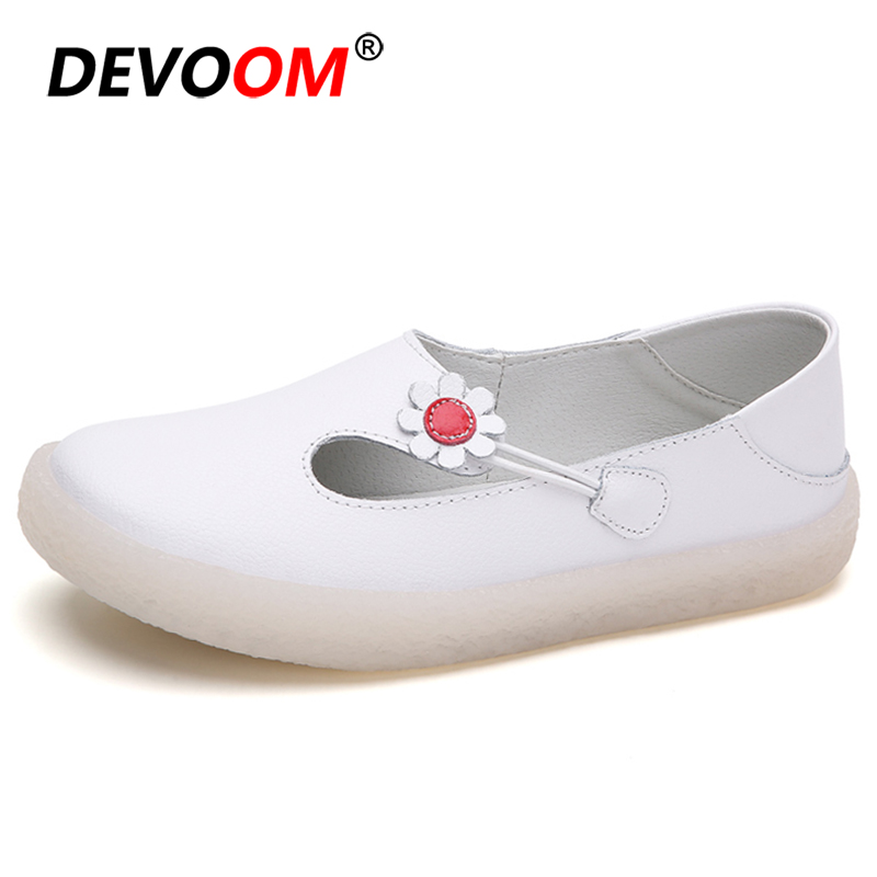 New Flats For <font><b>Women</b></font> Shoes Comrfort Leather Flat Nurse Shoes Woman White Sneakers Slipony Female Moccasins Loafers Ballet Shoes image