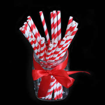 RIDAY 15pcs/lot Black Red White Striped Wave Paper Drinking Straws Happy Birthday Party Disposable Tableware Supplies@3