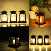 Solar Powered LED Outdoor twinkle Candle Lantern Outdoor Lamp Home Garden Decoration Light Warm Flame Flashing Tea Light
