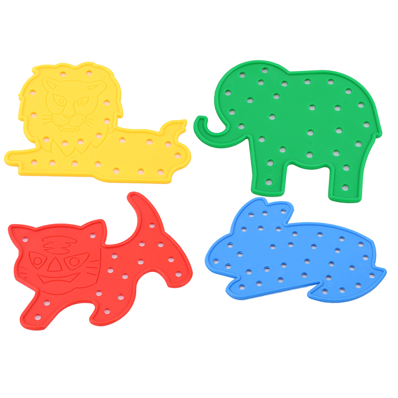 Puzzles Toy 4Pcs/Set Animal Lacing Shapes Threading Laces Education Toys Children Educational Thread Embroidery DIY Toys Gift