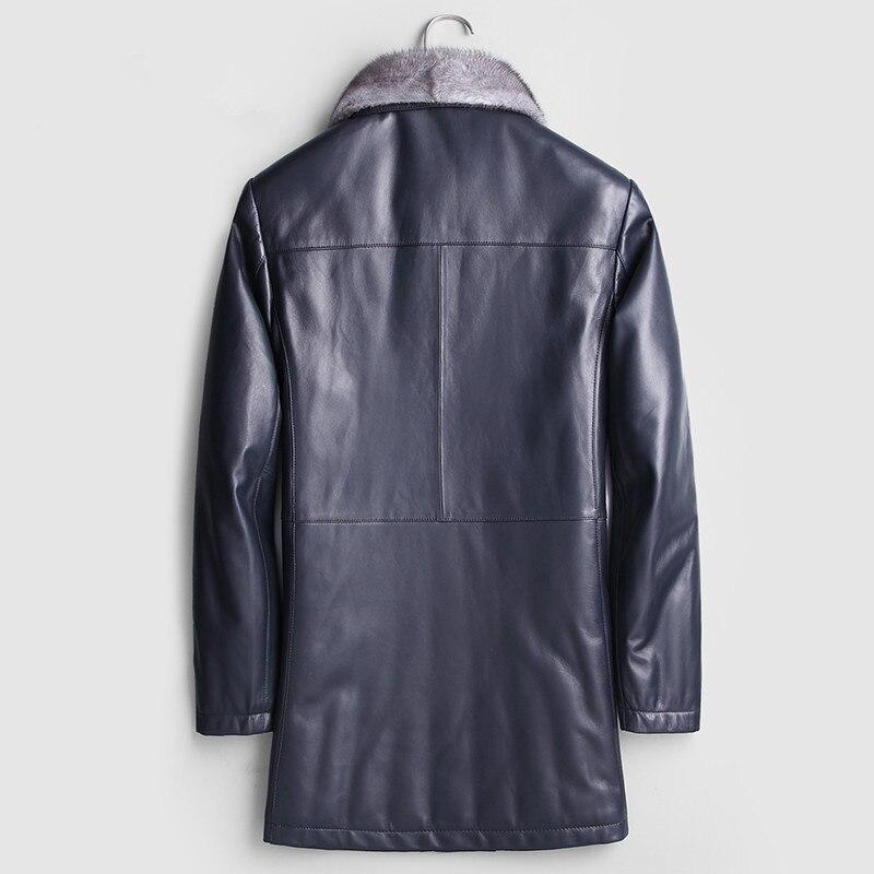 Genuine Leather Jacket Mink Fur Collar Down Jacket Winter Jacket Sheepskin Coat Windbreaker Long Coat F-JW-1691 MY1176