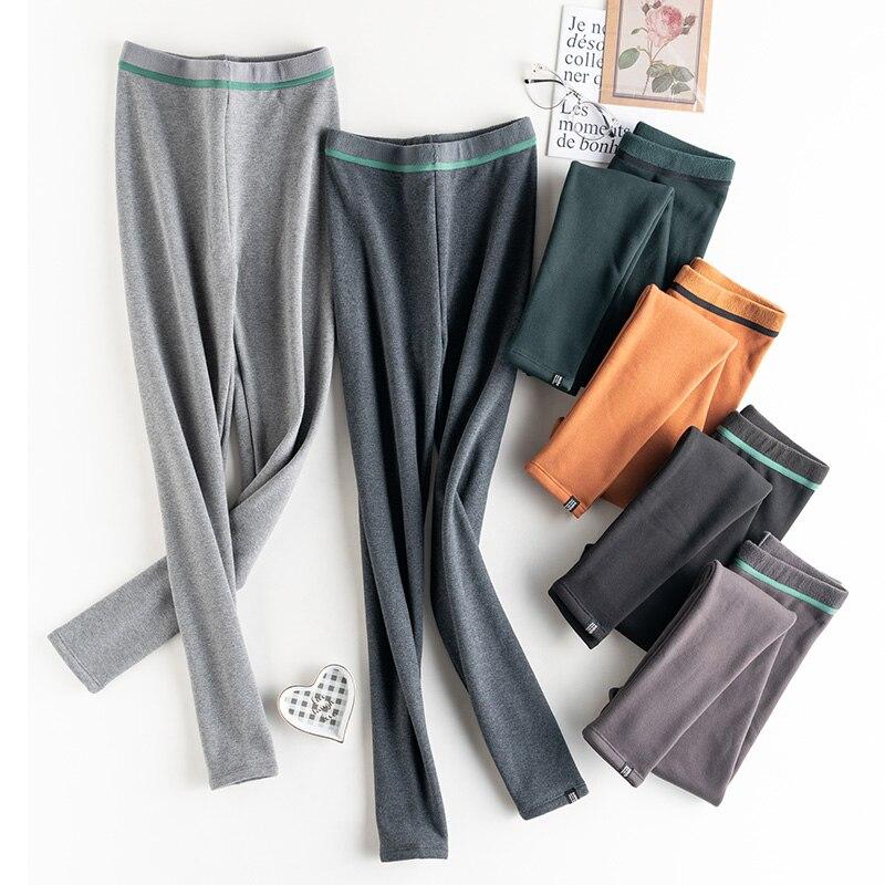 Hot 2020 New Autumn Winter Fashion Women's Warm Leggings Solid High Waist Elastic Plus Velvet Thicken Warm Soft Thick Slim Pants