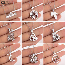 SMJEL 2019 Stainless Steel Women Necklaces Flower Cat Moon World Map Geometric Statement Jewelry Pendant Necklace Girls Gifts