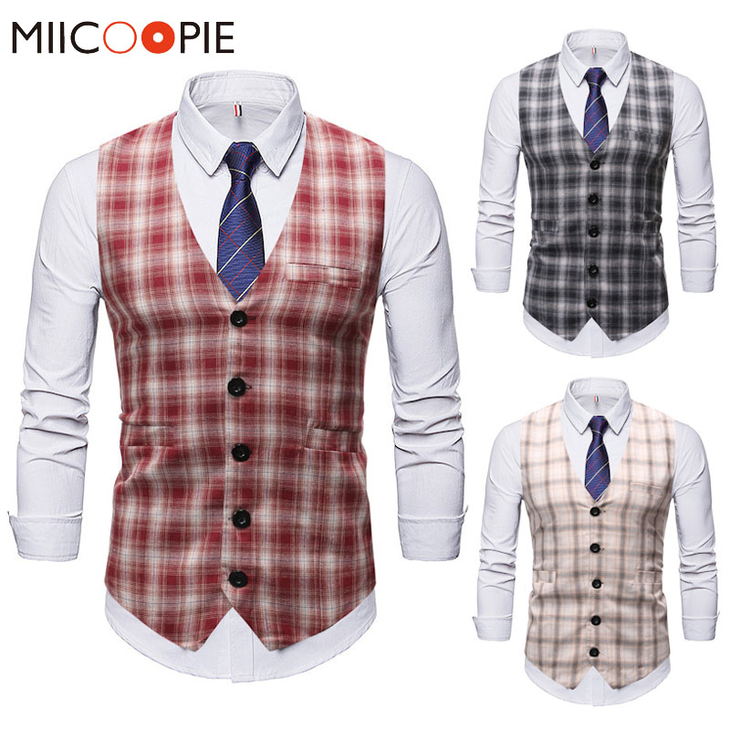 Men Suit Vest Vintage Casual Plaid Single Breasted Mens Waistcoat Vests High Quality Slim Fit Party Wedding Dress Gilet Homme