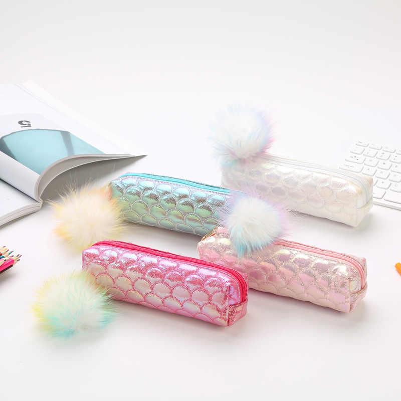 โรงเรียนน่ารักดินสอกรณีเลื่อม Pencilcase สำหรับหญิง Penal กระเป๋า Kawaii ตลับหมึกปากกากล่อง Big Multi เครื่องสำอางค์กระเป๋าเครื่องเขียน