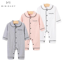 Wholesale 0-24M Newborn Jumpsuit Baby Clothes Spring Toddler Costume Boys Girls Solid long home wear Romper Pure Cotton Pajamas