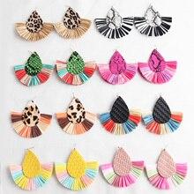 Statement Long Lafite Tassel Earrings Drop Dangle for Women Bohemian Handmade Raffia Straw Fashion Jewelry