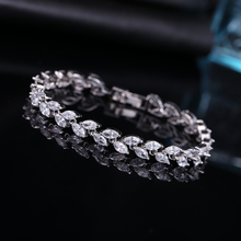 Fashion Exquisite Colorful Zircon Leaf Bracelets Glamour Bride Engagement Wedding Jewelry