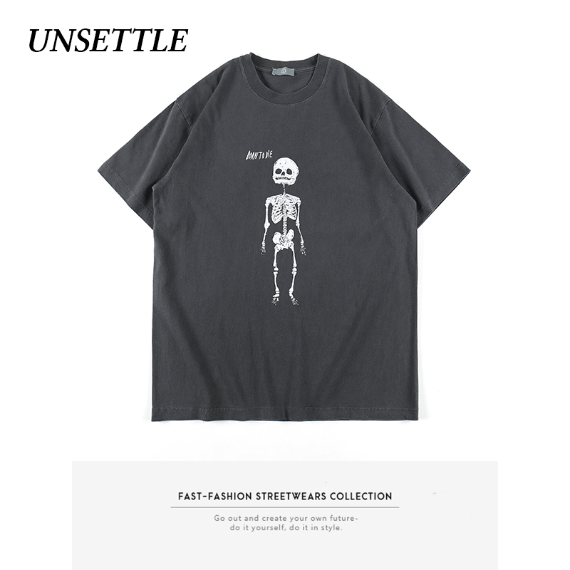 UNSETTLE Retro Heavy Weight Fabric Washed High Street Fashion T-shirts Men Print Skull Hip Hop Streetwear Tshirt Short Sleeve
