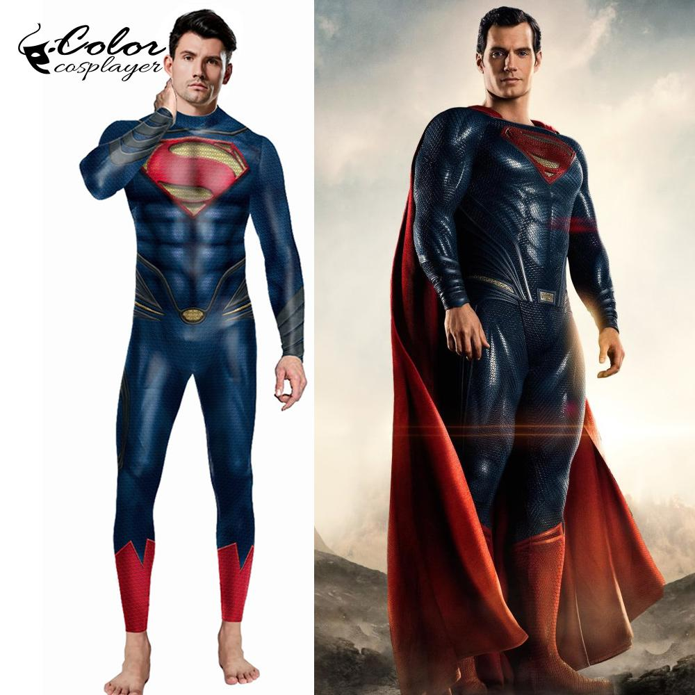 Color Cosplayer Movie Super Man Cosplay Clothing Men For Purim Carnival Bodysuit Party Cosplay Clothes Plus Size Adult