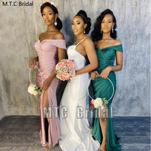 Long Mermaid Bridesmaid Dresses Green African Maid Of Honor Gowns For Wedding Party Customize Best Women Dress Robe De Soiree