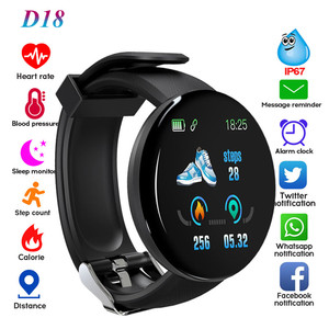 D18 фитнес-часы Смарт-браслет для мужчин и женщин кровяное давление шаг информация напоминание секундомер для IOS Android
