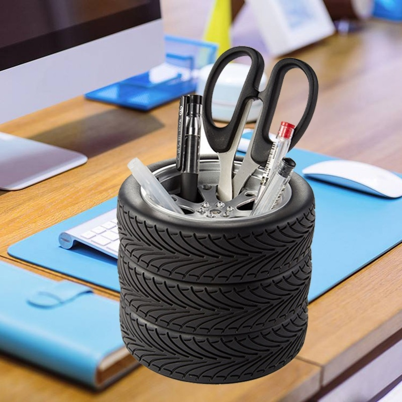 Office School Learning Stationery Storage Simulation Tire Shaped Pen Holder Pencil Organizer Brush Pot Storage Supplies