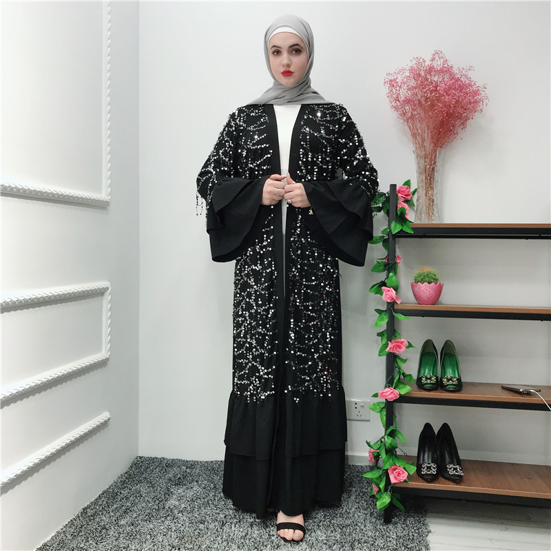 Islamic Clothing Muslim Abaya Dress Women Flare Sleeve Ruffle Jibab Kimono Caftan Long Robe Elbise Sequin Dress Lace-up Jubah