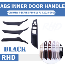 4PCS Right Hand Drive RHD For BMW 5 series F10 F11 520 525 Black Car Interior Door Handle Inner Panel Pull Trim Cover Armrest
