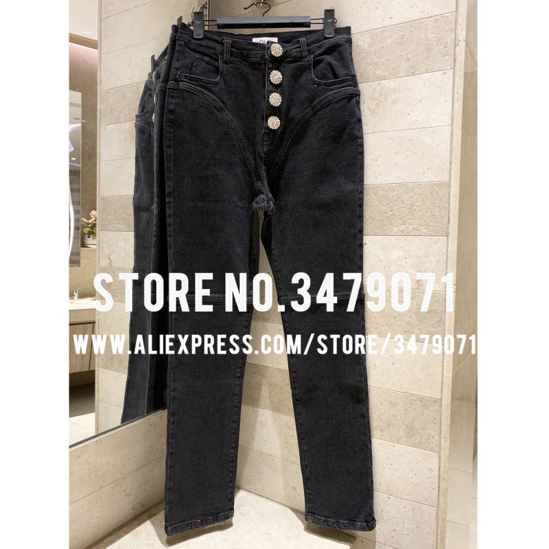 Autumn Winter 2019 New Black Diamond Buckle High Waist Small Feet Stretch Jeans Women High Quality Tight Hips Casual Pants