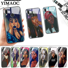 Afro Girls Colorful Cute Glass Case for Huawei P10 P20 P30 Lite Pro P Smart Y6 Prime Y93 Mate 20