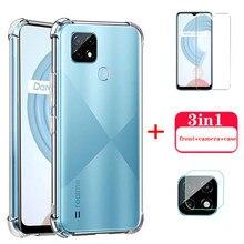 Realmy c21 vidro transparente macio silicone capa para realme c21 c 21 21c caso câmera lente película protetora protetores de tela