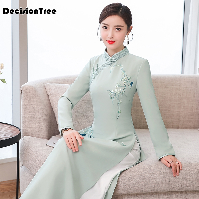 2019 Cheongsam Ao Dai Dress Vintage Ao Dai Vietnam Qipao Dresses Vietnamese Women Vestido Chino Qipao Dress Vintage Casual Retro
