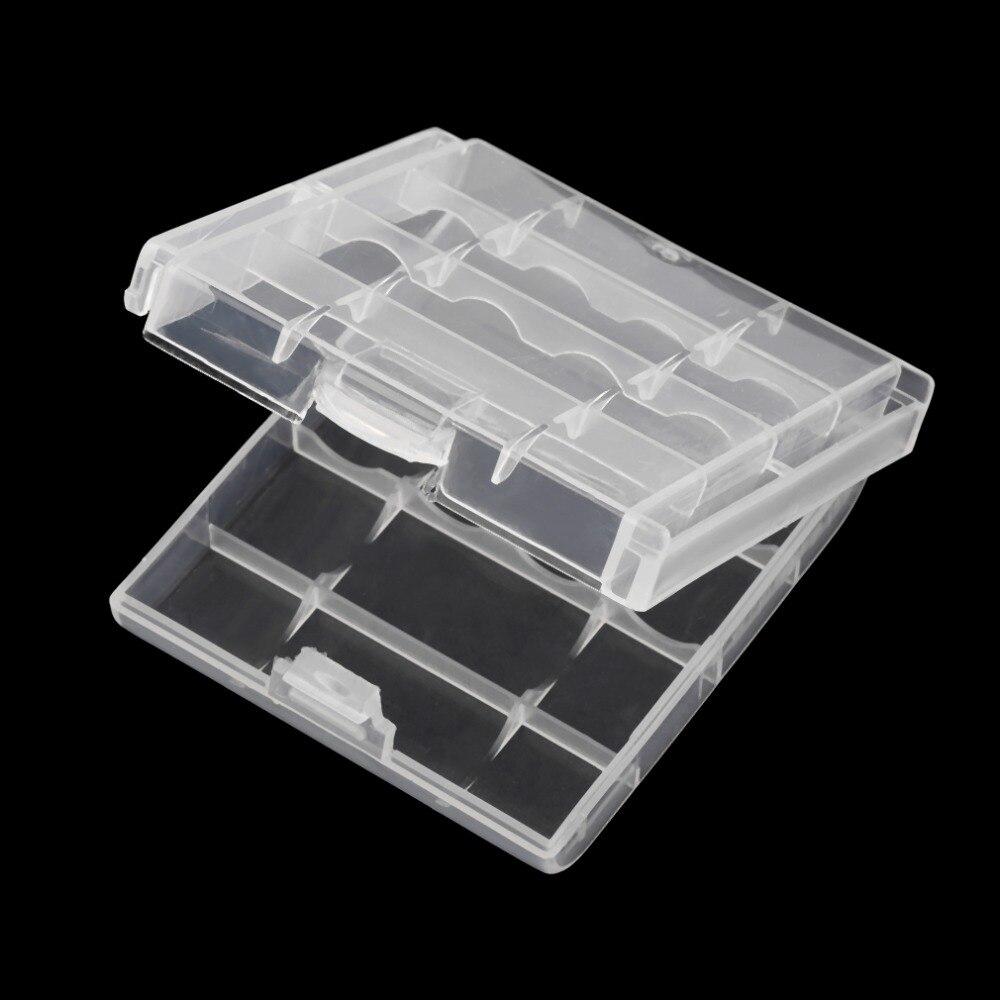 Tüketici Elektroniği'ten Pil Saklama Kutuları'de Beyaz plastik pil saklama kutusu sert plastik kılıf tutucu 4 adet AA AAA piller şeffaf title=