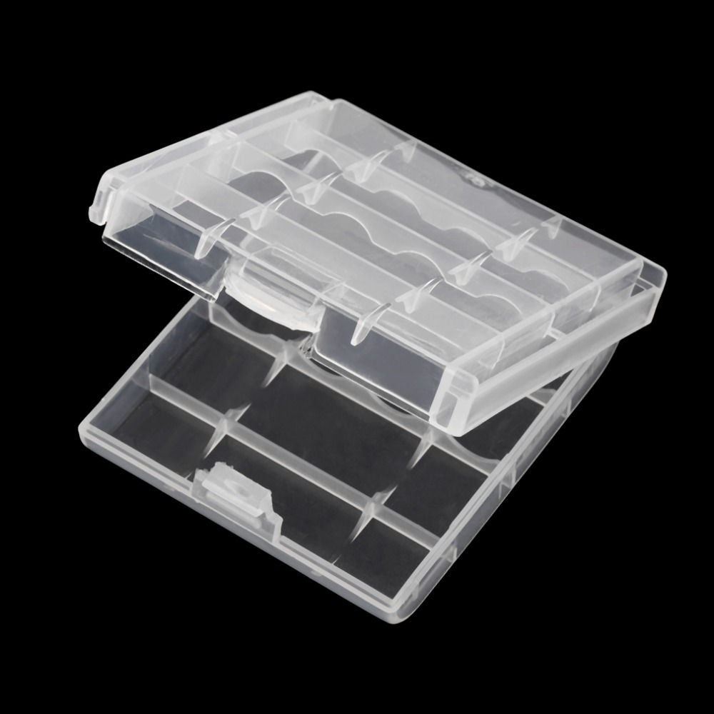 White Plastic Battery Storage Box Hard Plastic Case Cover Holder for 4 pcs AA AAA Batteries Transparent|Battery Storage Boxes| |  - title=