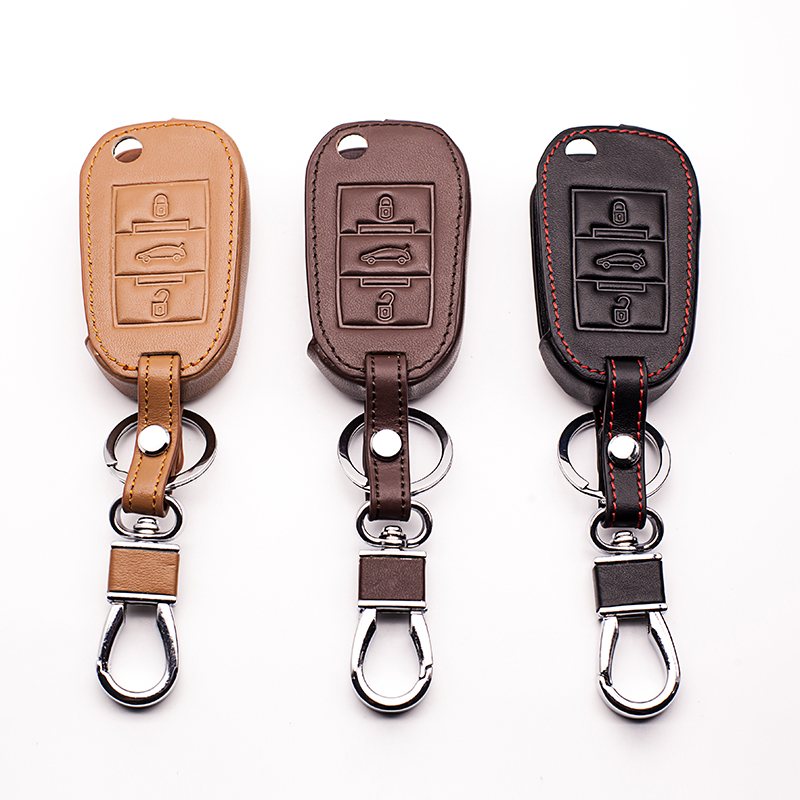 Auto Parts, high quality Leather Car Key Cover for Peugeot 2008 3008 4008 301 308S 408 508, for Citroen C3 C4 C5 C6 Car Key case image