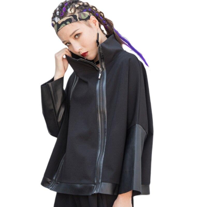 Les deux fermeture éclair belle épissure Pu Oodji Harajuku Kpop Riverdale Exo gothique Streetwear étranger choses aventure temps Bts capuche