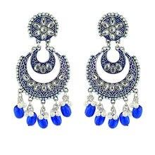 Nowe Ins indyjskie złoto ręcznie robione koraliki księżyc geometryczne Nepal tajlandia Piercing kolczyki koreański Fashion Party biżuteria Bijoux kolczyk