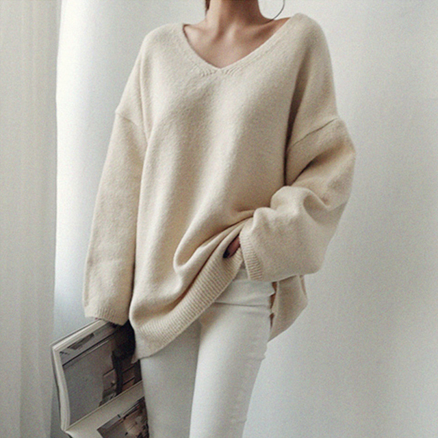Ailegogo Women V-neck Sweater Loose Fit Autumn Winter Warm Casual Knitted Tops Female Long Solid Color Knit Pullovers 1