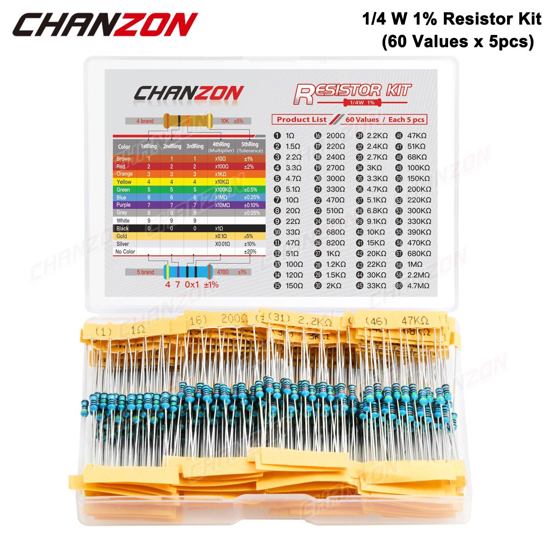 300 шт. (60 значений х 5 шт) 1/4 W 1% металлического пленочного набор резисторов 1 ohm 4,7 м ом 1/4 Вт Высокая точность MF сопротивление комплект Ассортимент|Резисторы|   | АлиЭкспресс