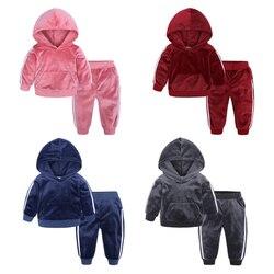 Crianças roupas de veludo outono inverno da criança dos meninos meninas roupas com capuz traje terno crianças treino para conjuntos de roupas