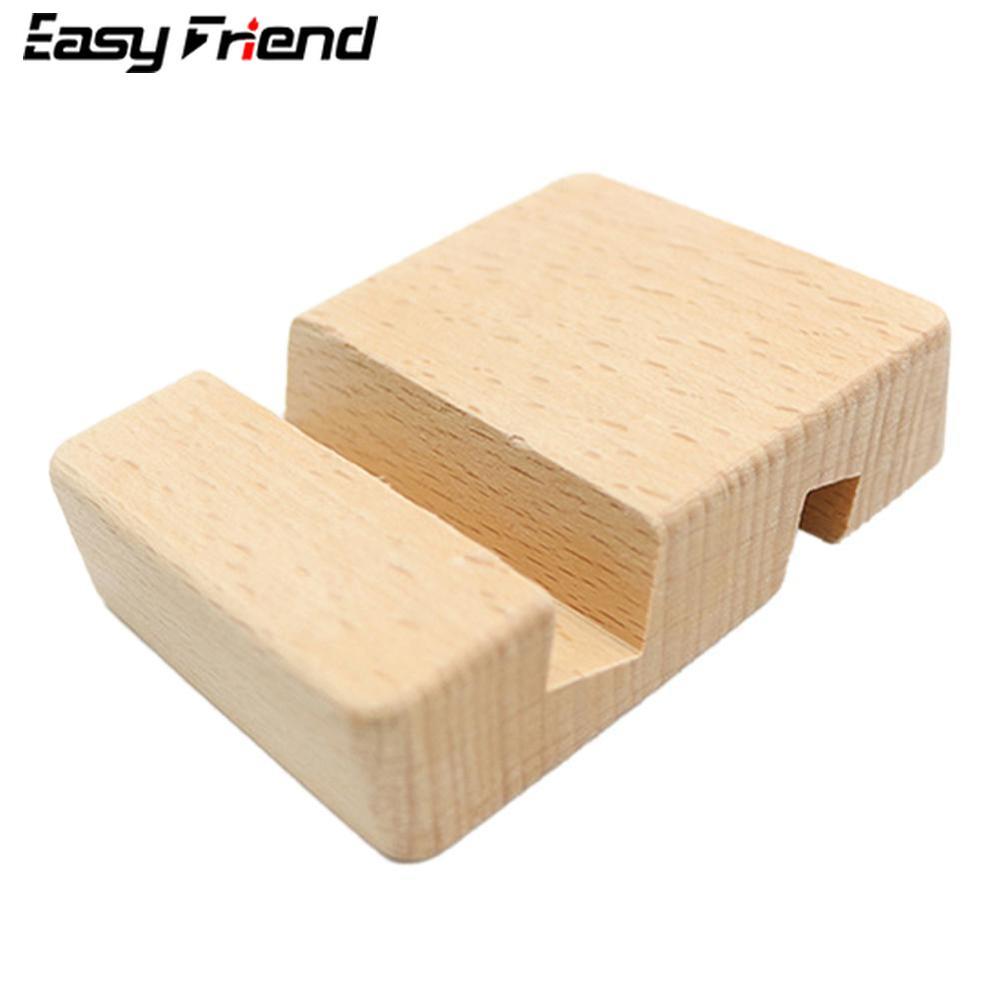 Universal Simple Mobile Phone Holder For IPhone Samsung Tablet Bracket Stand Double Slot Novel Wood Desk Holder