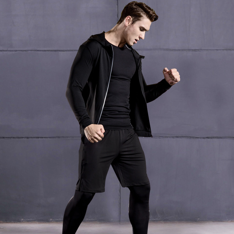 Foto from the front 5 pcs compressions clothes for gym. Men's 5 pcs compression tracksuit sports black color