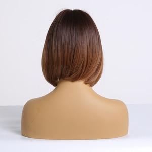 Image 3 - ALAN EATON pelucas sintéticas con flequillo para mujer, cabello liso oscuro, Rubio marrón, degradado, Bob corto, resistente al calor, Cosplay de Lolita
