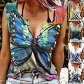 Women Fashion Summer V-Neck Digital Printing Pullover Sexy Casual Vest Loose Butterfly Print Sleeveless T-Shirt
