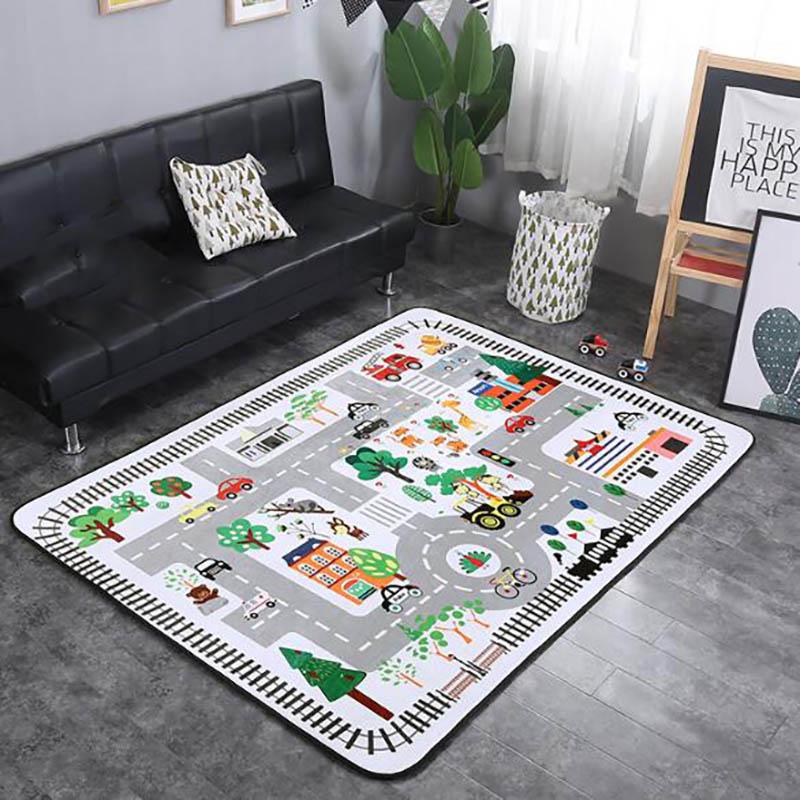 Baby Crawling Mat Infant Play Carpet Rug Kid Velvet Foam Mats Non-slip Pad Children Room Decor  Cartoon Animal Printing BXX022