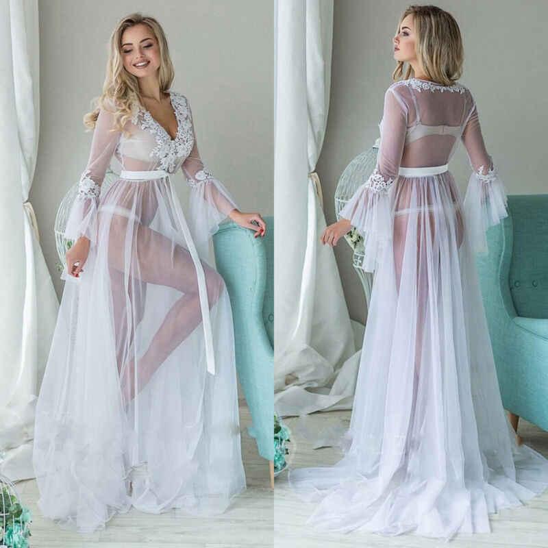 Goocheer 새로운 패션 화이트 레이스 메쉬 여성 긴 소매 드레스 섹시한 v-목 우아한 바닥 길이 루즈 드레스