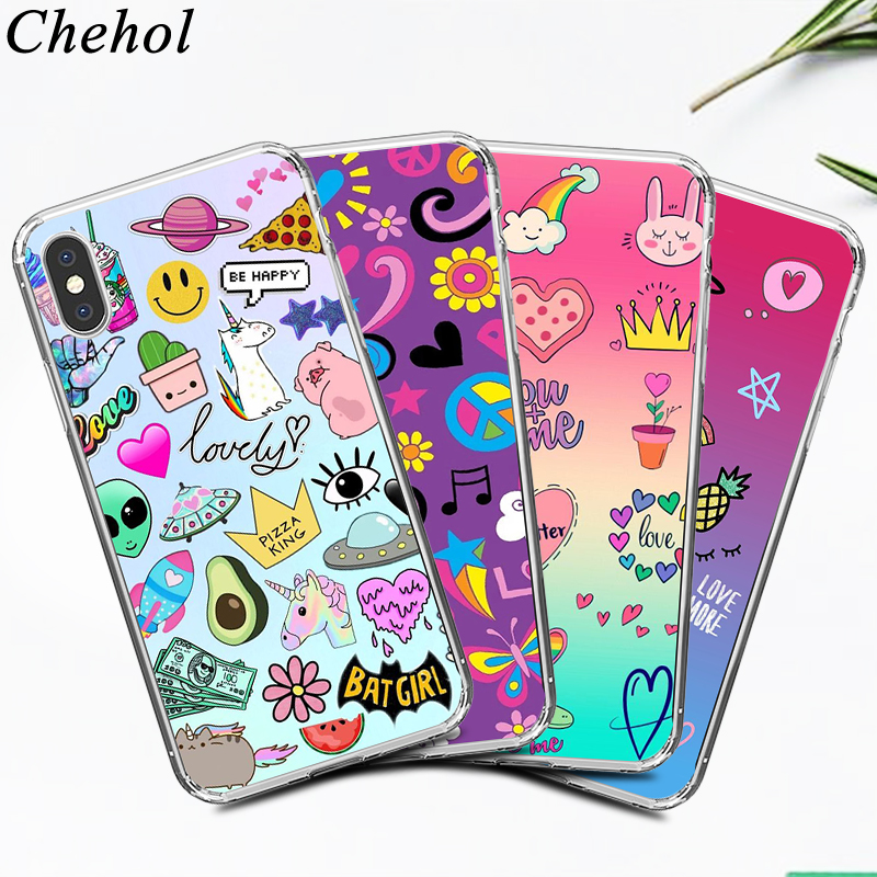 Luxury Mobile Phone Cases for IPhone X XS MAX XR 8 7 6s Plus Funny Cute Graffiti Case Soft Silicone TPU Back Covers Accessories