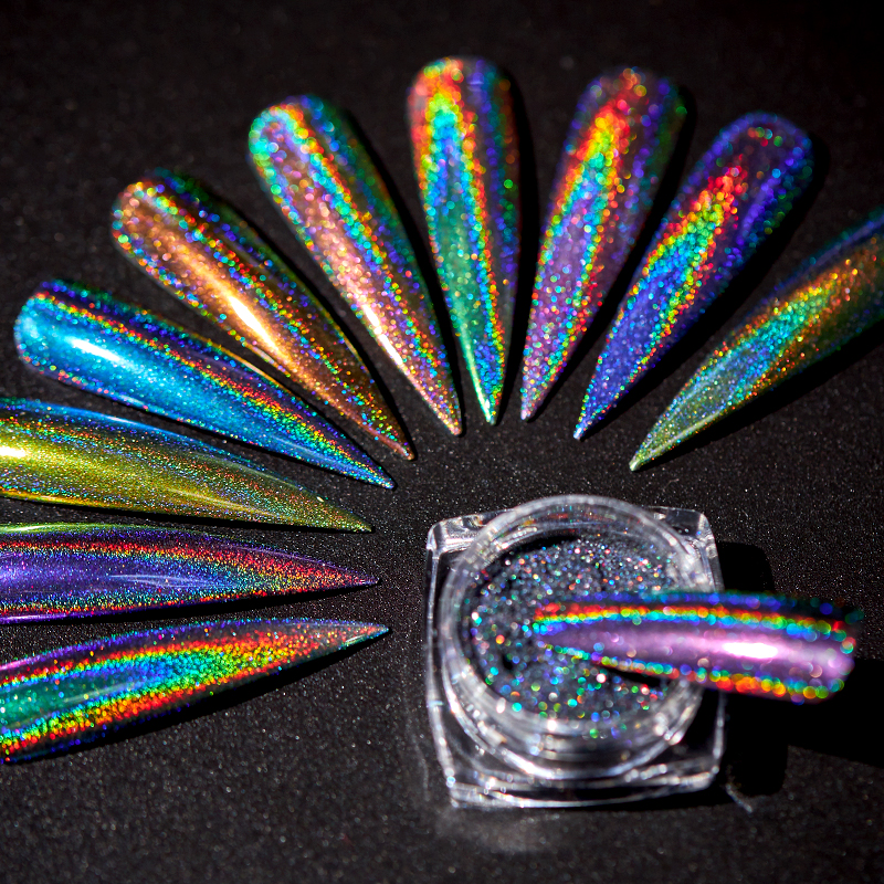 1g Glitter für Nägel Holographische Dip Pulver Spiegel Polieren Chrom Pigmente DIY Nail art Dekorationen Laser Dazzling Staub