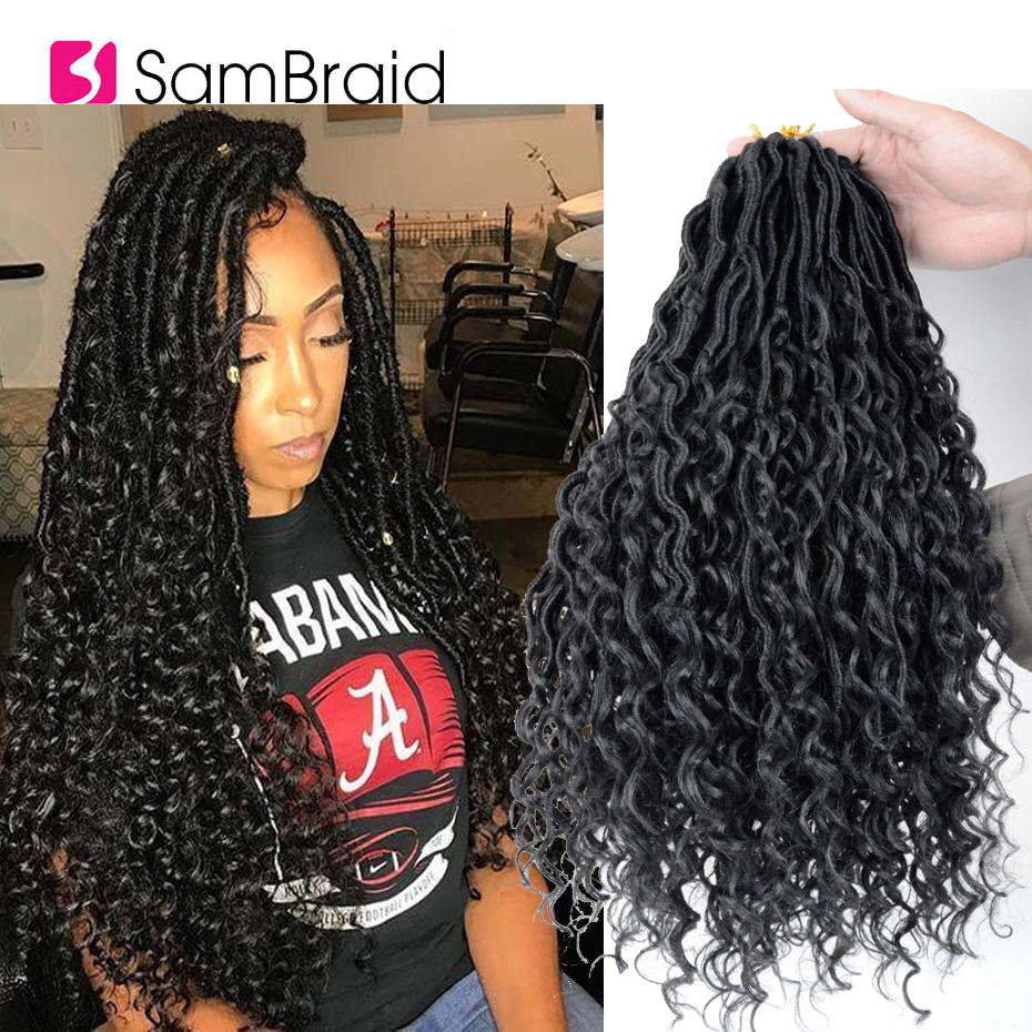 SAMBRAID14 18 INCH Boho Crochet Braids River Goddess Curly Faux Locs Synthetic Braiding Hiar Extensions Bohemian Black For Women